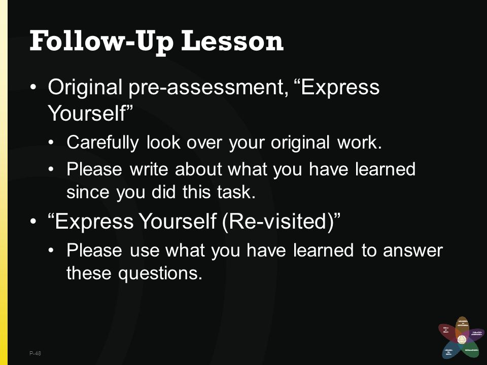 Follow-Up Lesson Original pre-assessment, Express Yourself