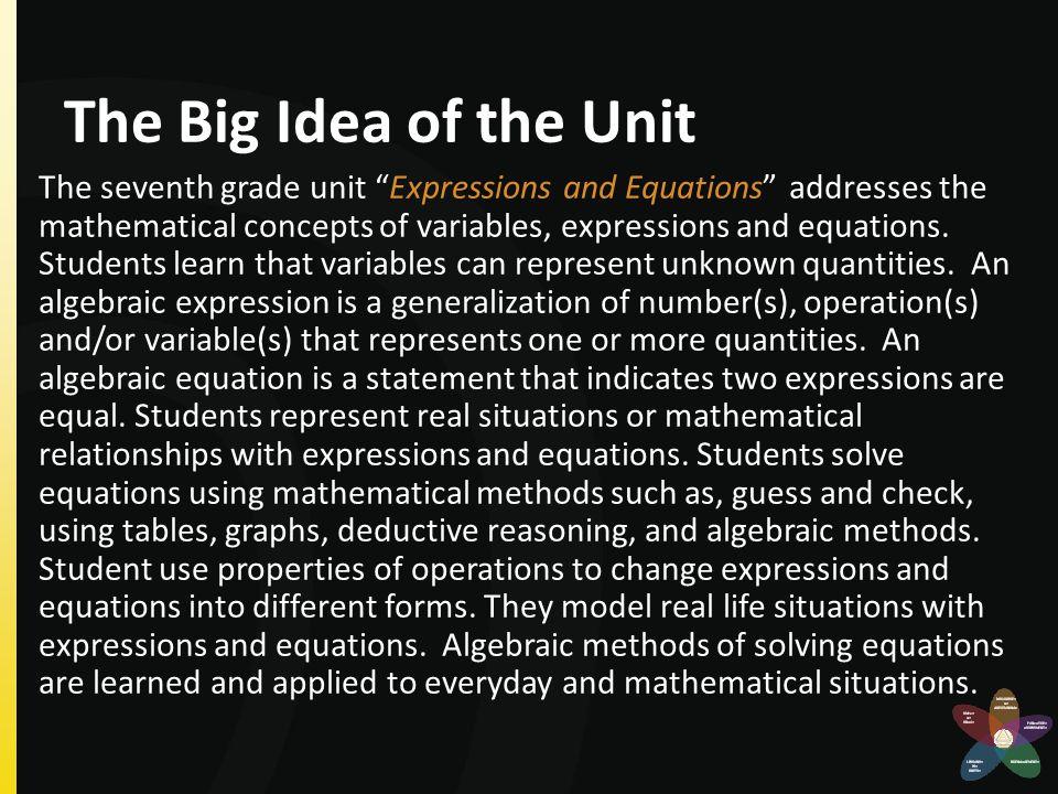 The Big Idea of the Unit