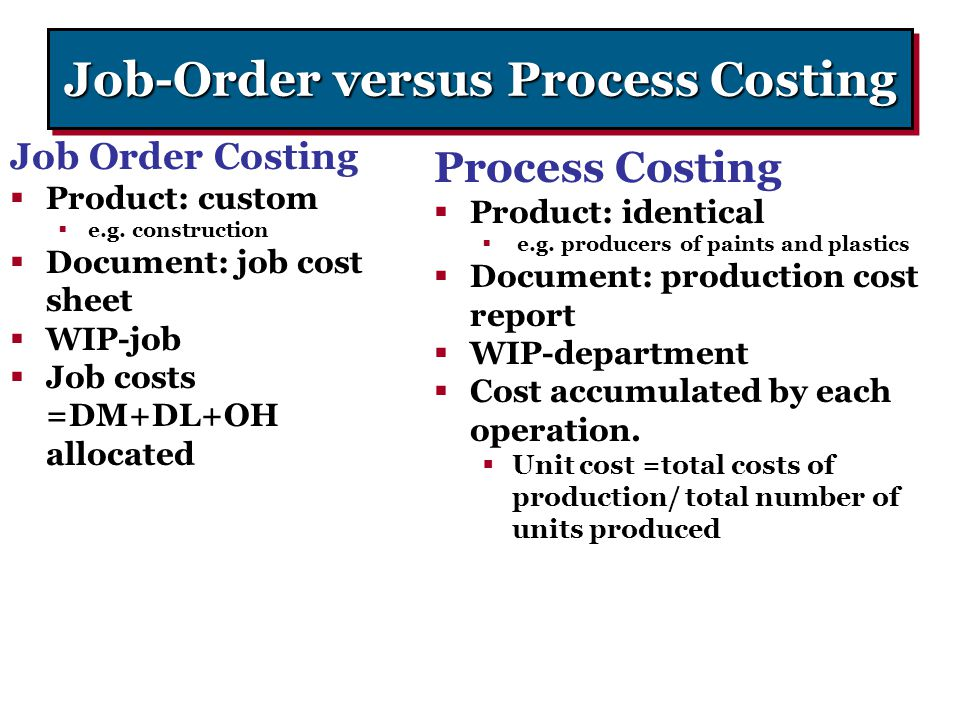 Job-Order versus Process Costing