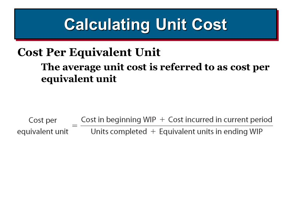 Calculating Unit Cost Cost Per Equivalent Unit