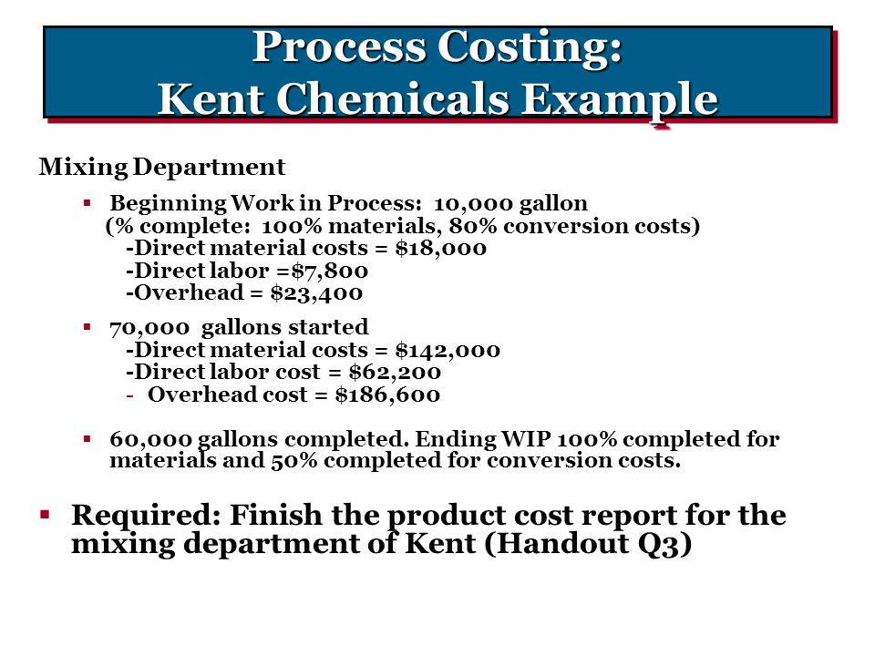 Process Costing: Kent Chemicals Example
