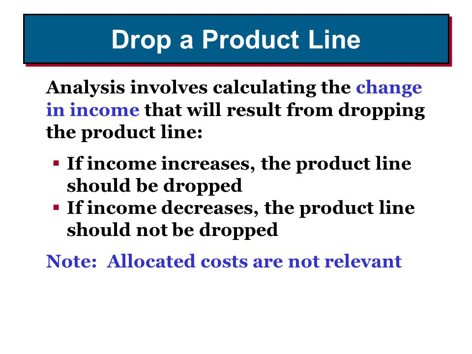 Drop a Product Line Analysis involves calculating the change in income that will result from dropping the product line: