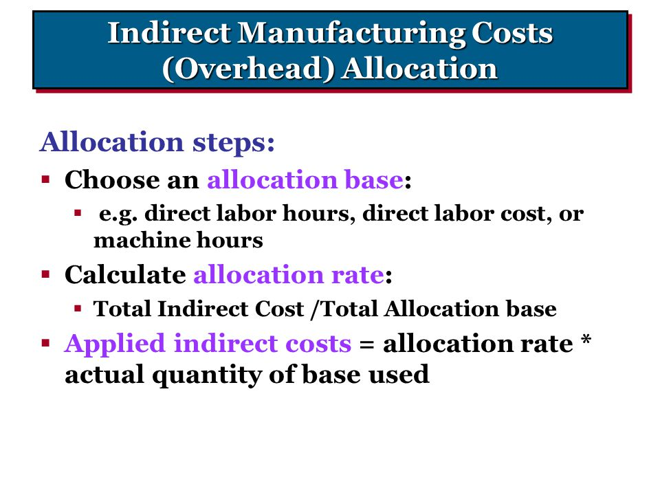 Indirect Manufacturing Costs (Overhead) Allocation