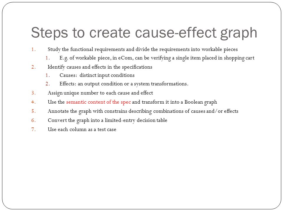 Steps to create cause-effect graph