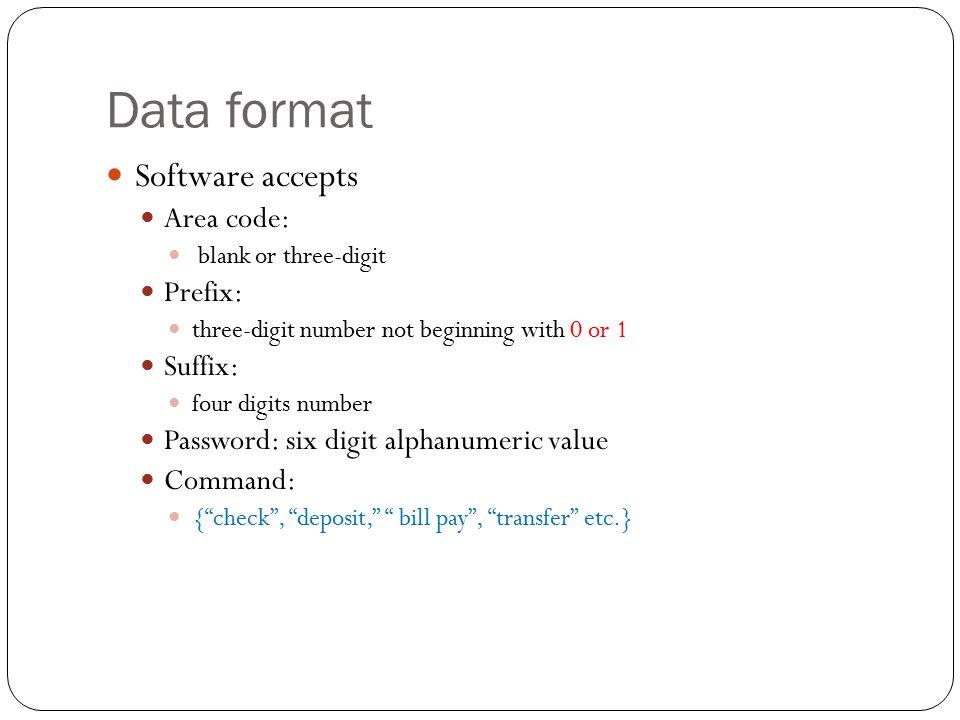 Data format Software accepts Area code: Prefix: Suffix: