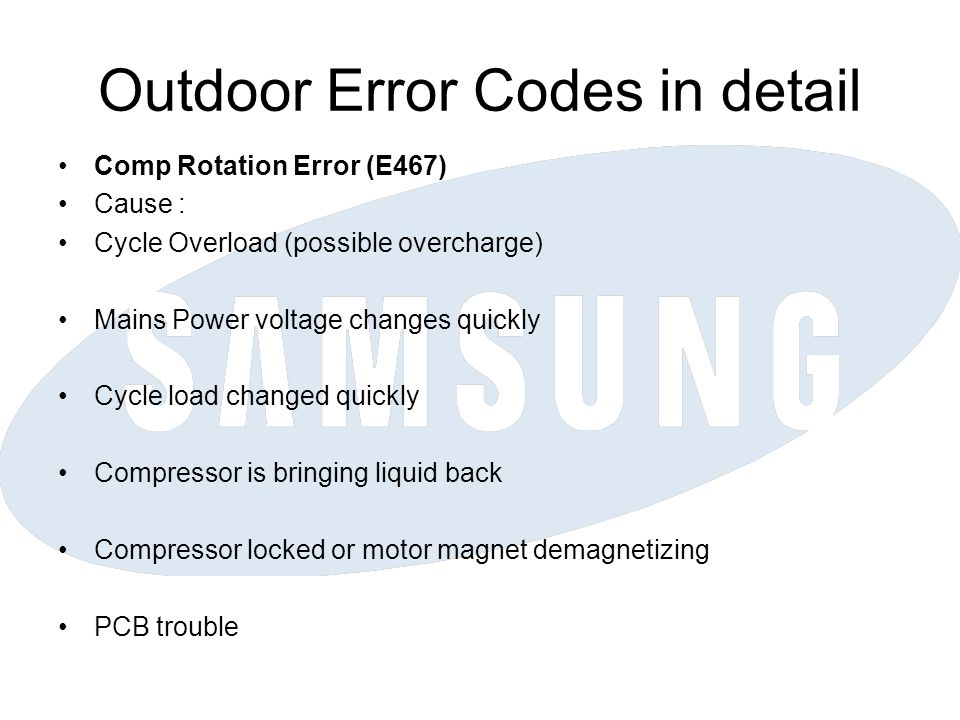 Outdoor Error Codes in detail