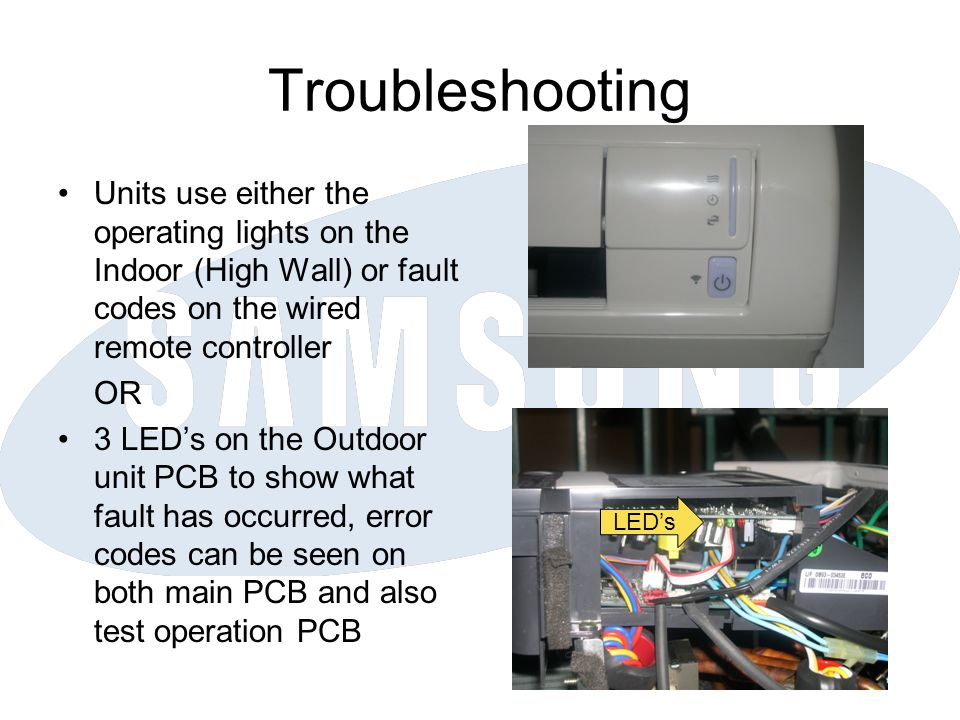Troubleshooting Units use either the operating lights on the Indoor (High Wall) or fault codes on the wired remote controller.