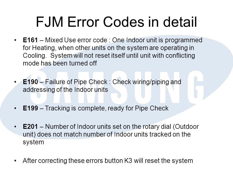 FJM Error Codes in detail