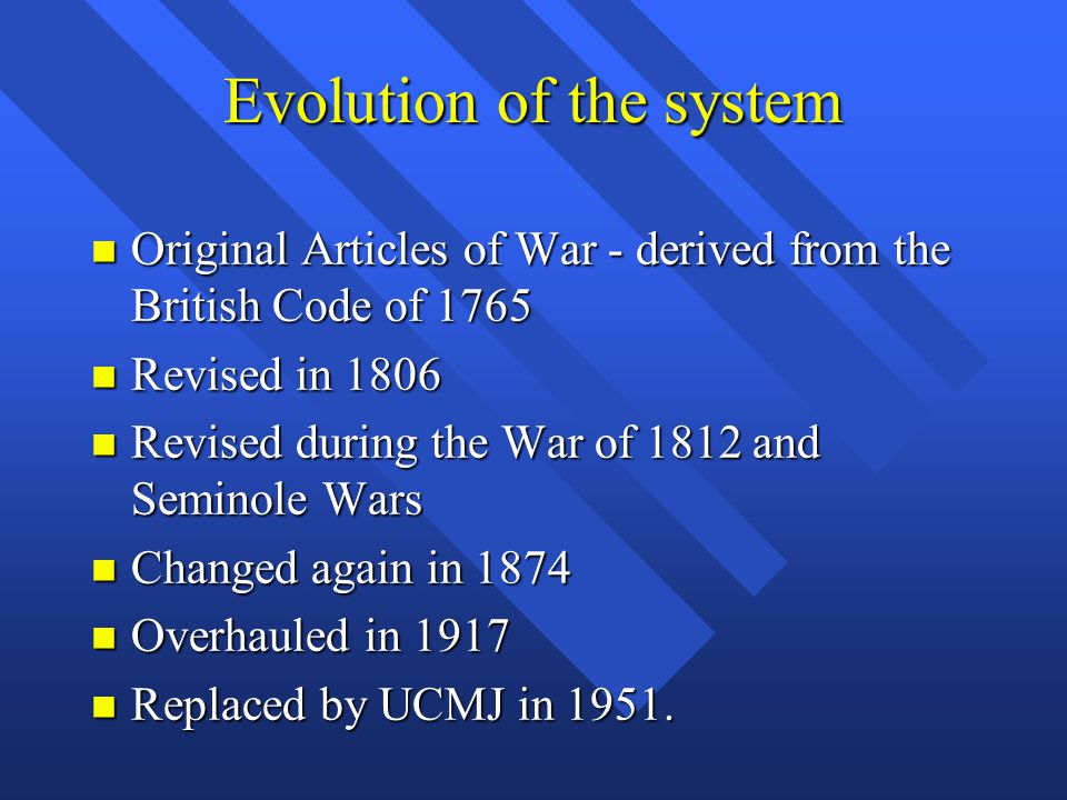 Evolution of the system