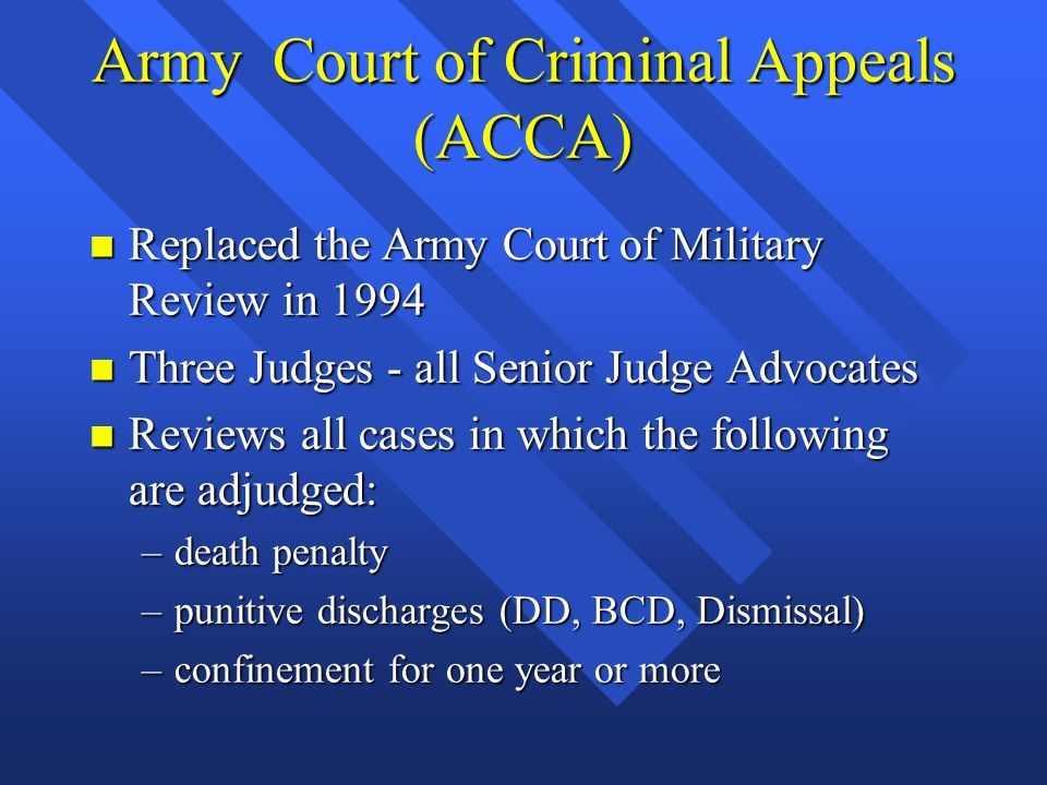 Army Court of Criminal Appeals (ACCA)