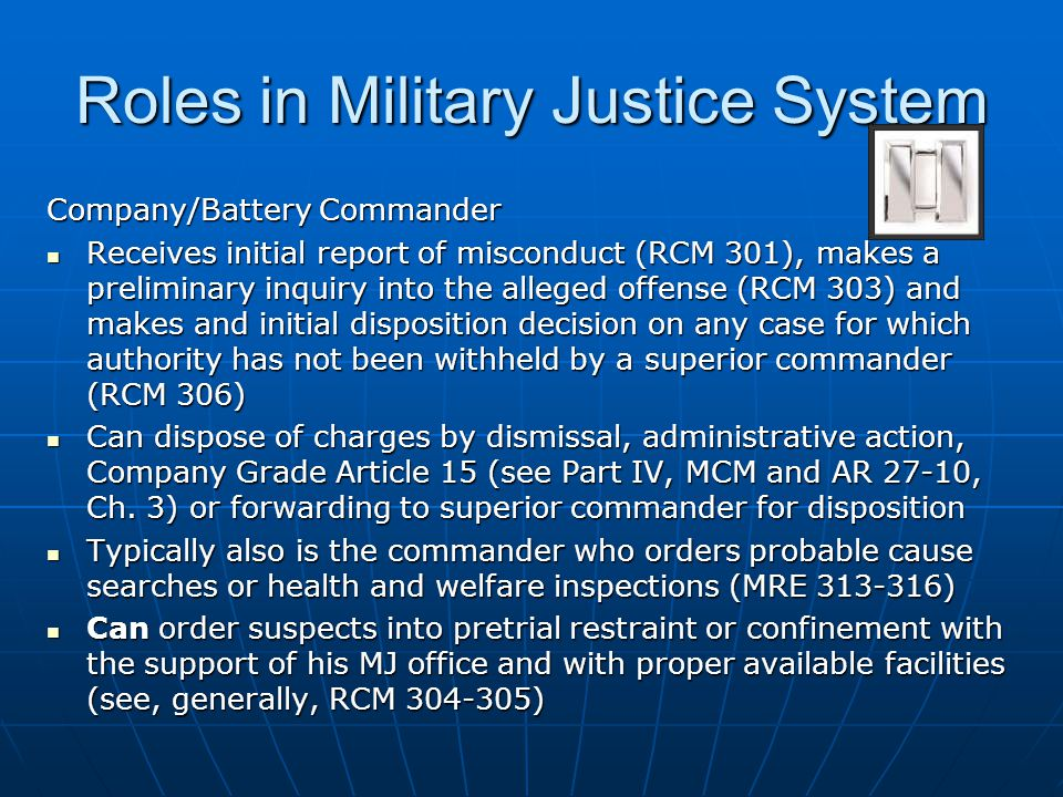 Roles in Military Justice System