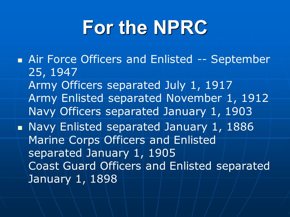 For the NPRC