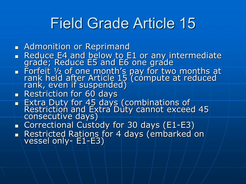 Field Grade Article 15 Admonition or Reprimand