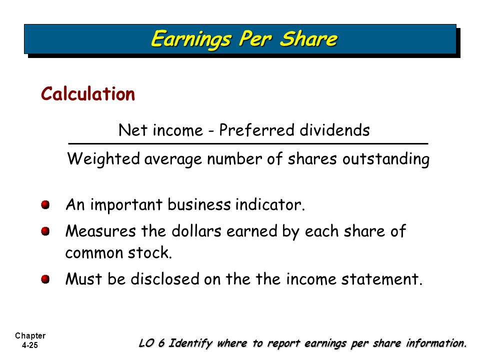 Earnings Per Share Calculation Net income - Preferred dividends