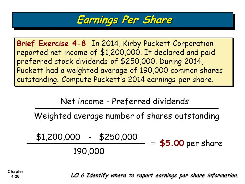 Earnings Per Share Net income - Preferred dividends