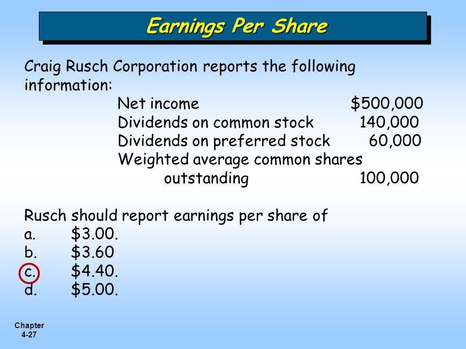 Earnings Per Share Craig Rusch Corporation reports the following information: Net income $500,000.