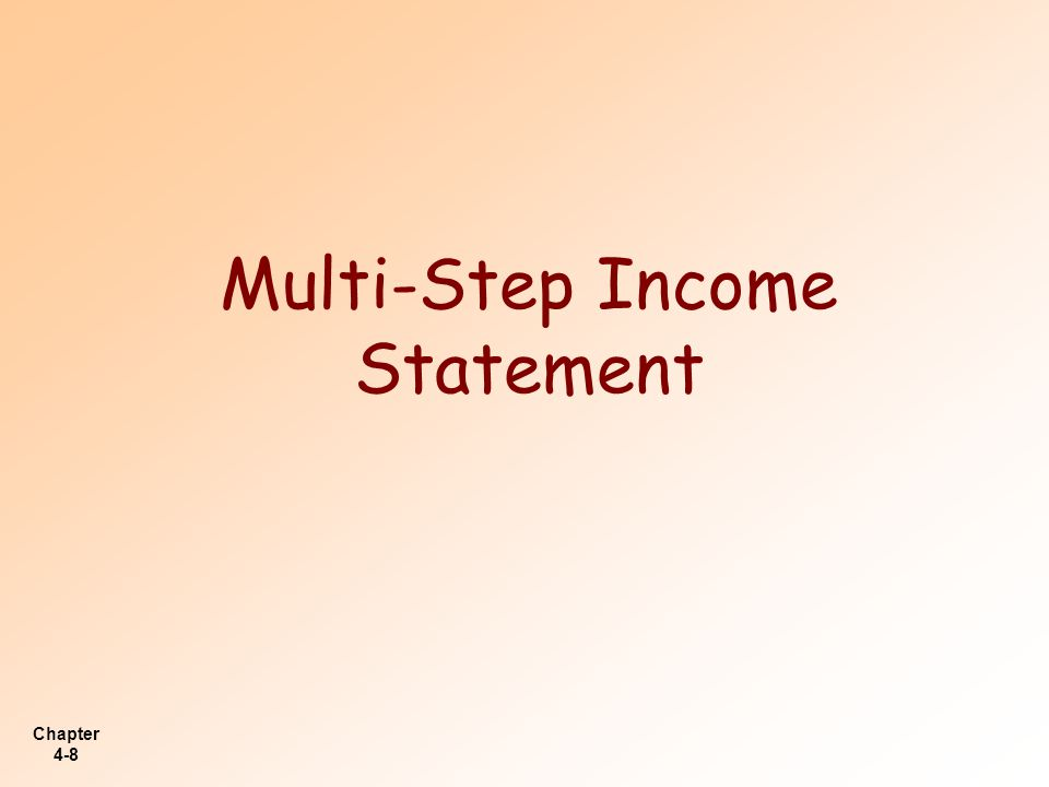Multi-Step Income Statement