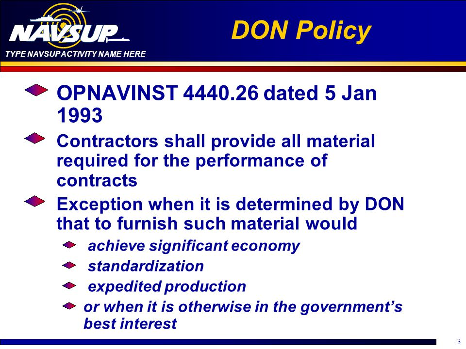 DON Policy OPNAVINST 4440.26 dated 5 Jan 1993