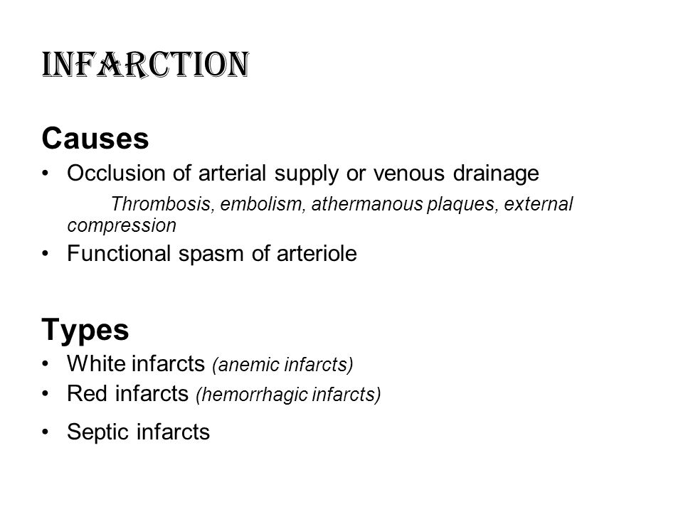 INFARCTION Causes Types