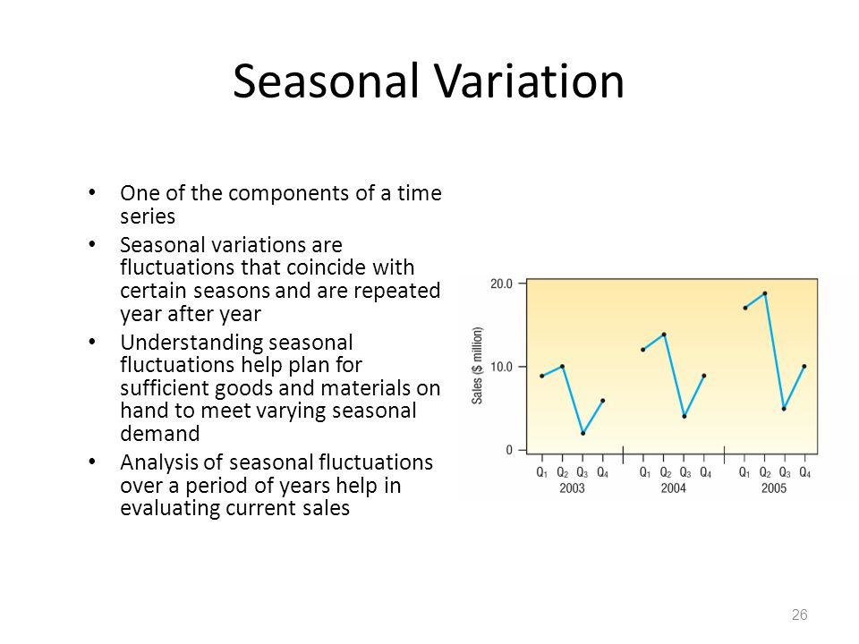Seasonal Variation One of the components of a time series