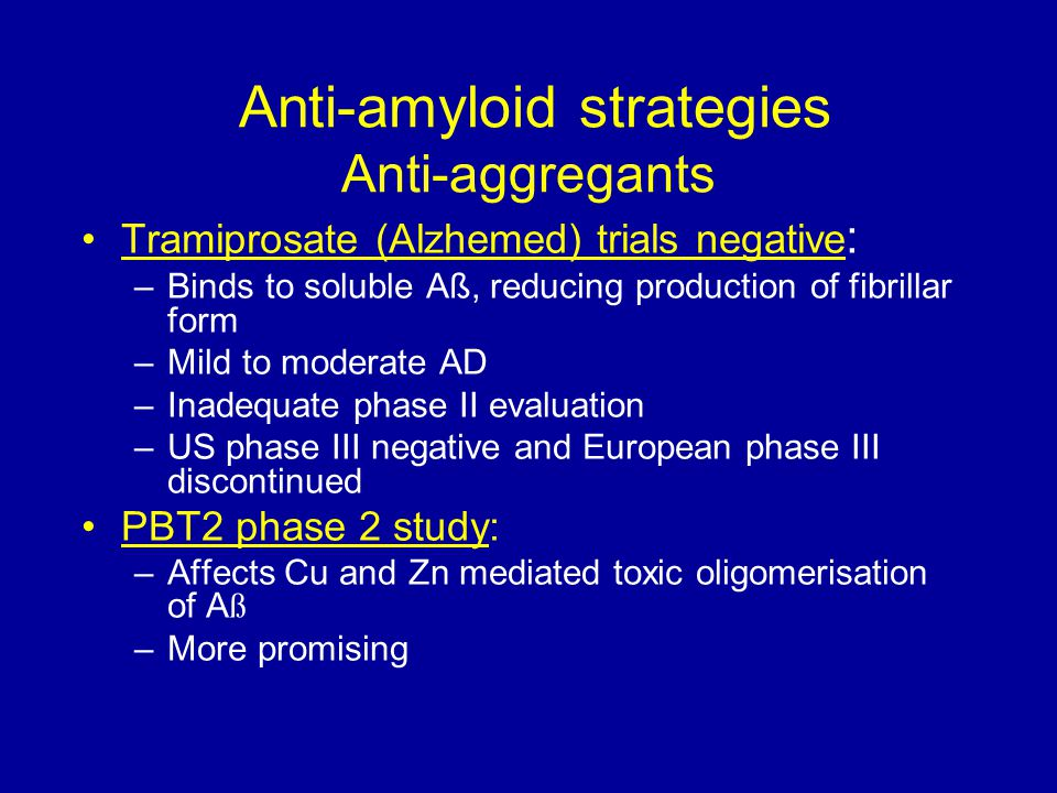 Anti-amyloid strategies Anti-aggregants