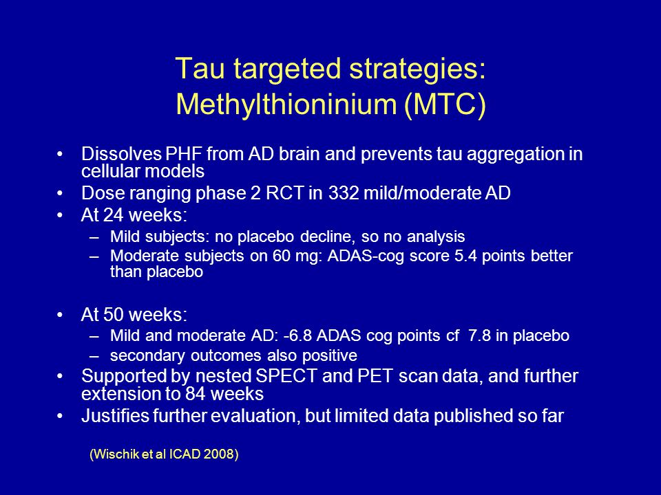 Tau targeted strategies: Methylthioninium (MTC)