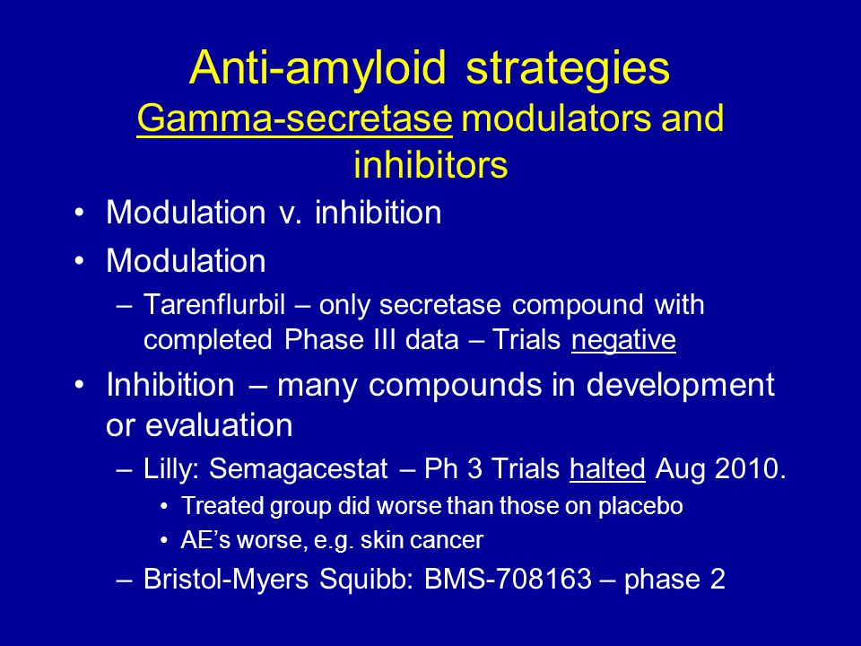 Anti-amyloid strategies Gamma-secretase modulators and inhibitors