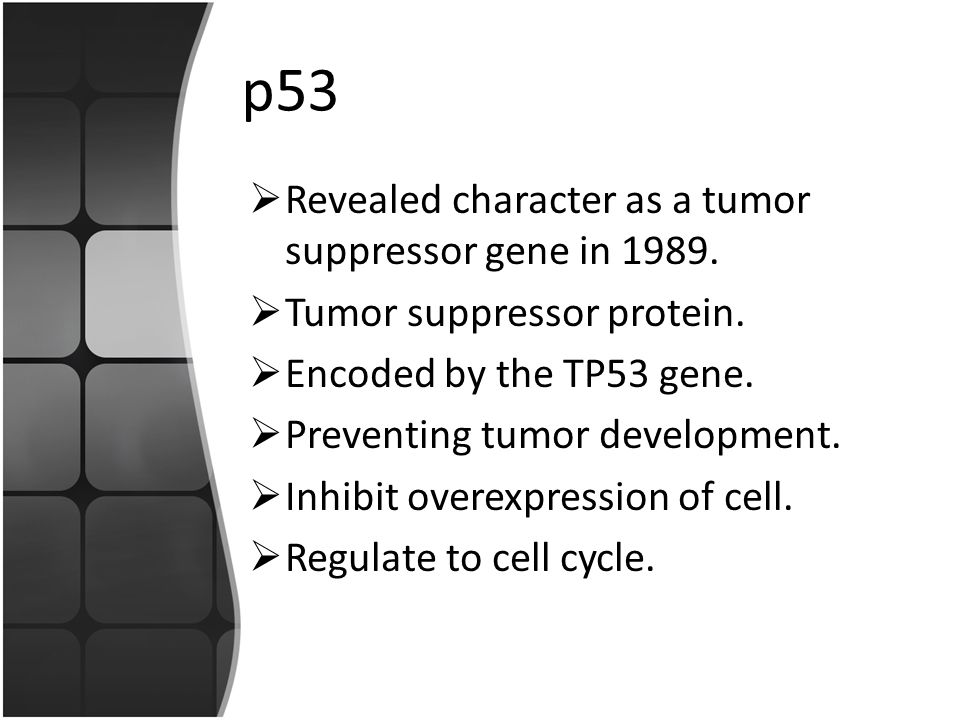 p53 Revealed character as a tumor suppressor gene in 1989.