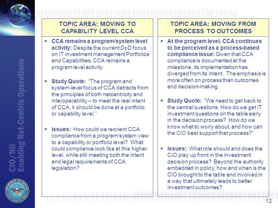 TOPIC AREA: MOVING TO CAPABILITY LEVEL CCA