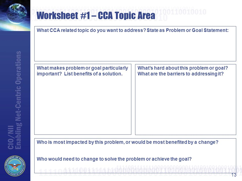 Worksheet #1 – CCA Topic Area
