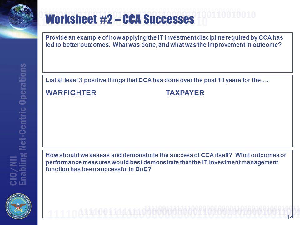 Worksheet #2 – CCA Successes