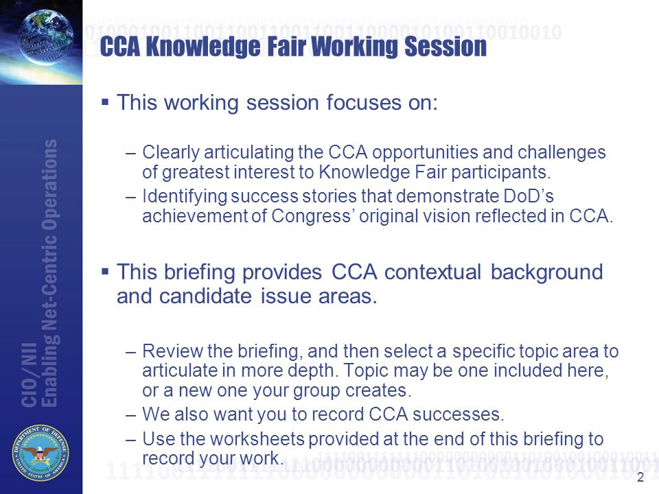 CCA Knowledge Fair Working Session
