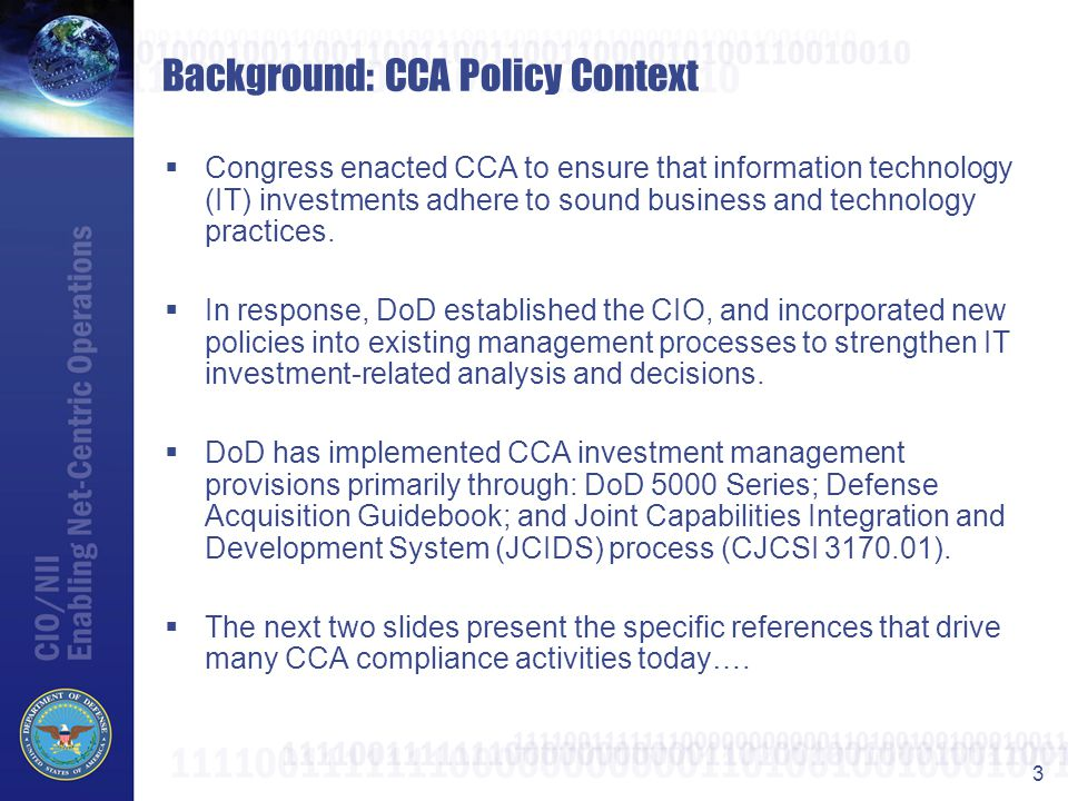 Background: CCA Policy Context
