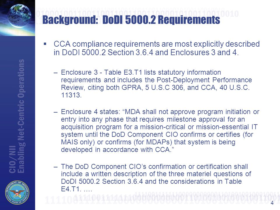 Background: DoDI 5000.2 Requirements