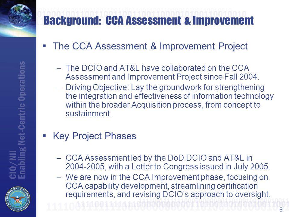 Background: CCA Assessment & Improvement