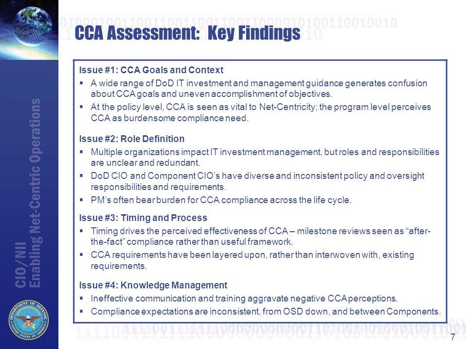 CCA Assessment: Key Findings