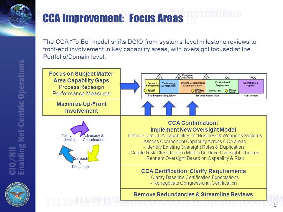 CCA Improvement: Focus Areas