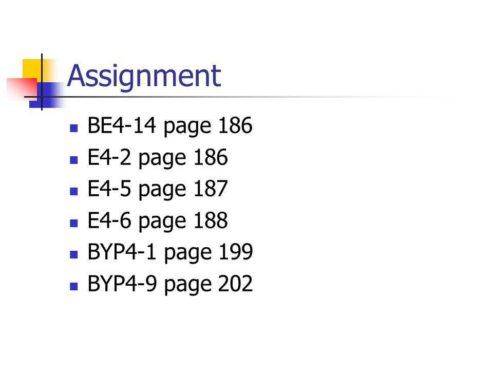Assignment BE4-14 page 186 E4-2 page 186 E4-5 page 187 E4-6 page 188