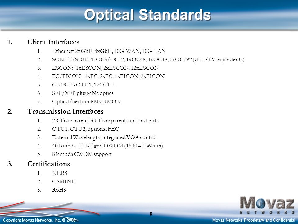 Optical Standards Client Interfaces Transmission Interfaces