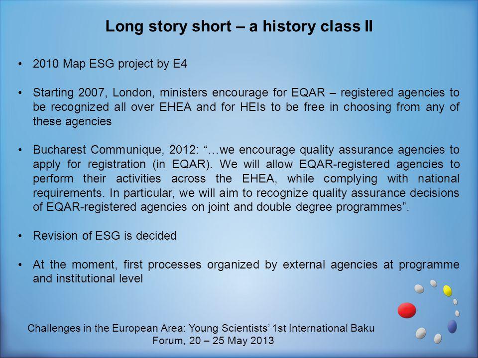 Long story short – a history class II