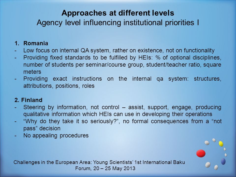 Approaches at different levels