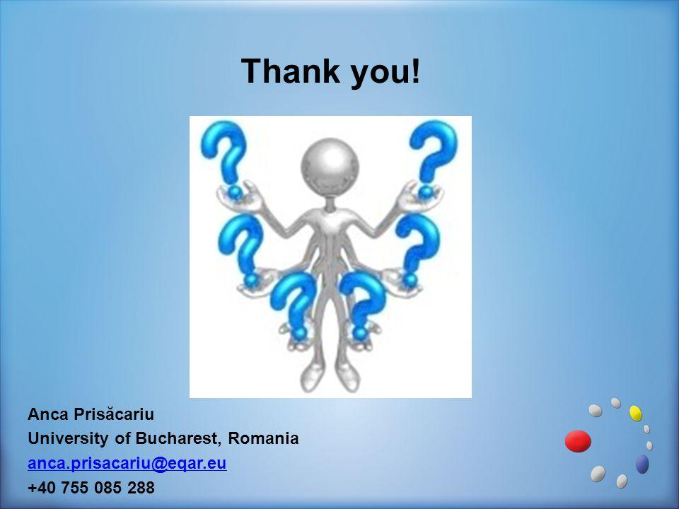 Thank you! Anca Prisăcariu University of Bucharest, Romania