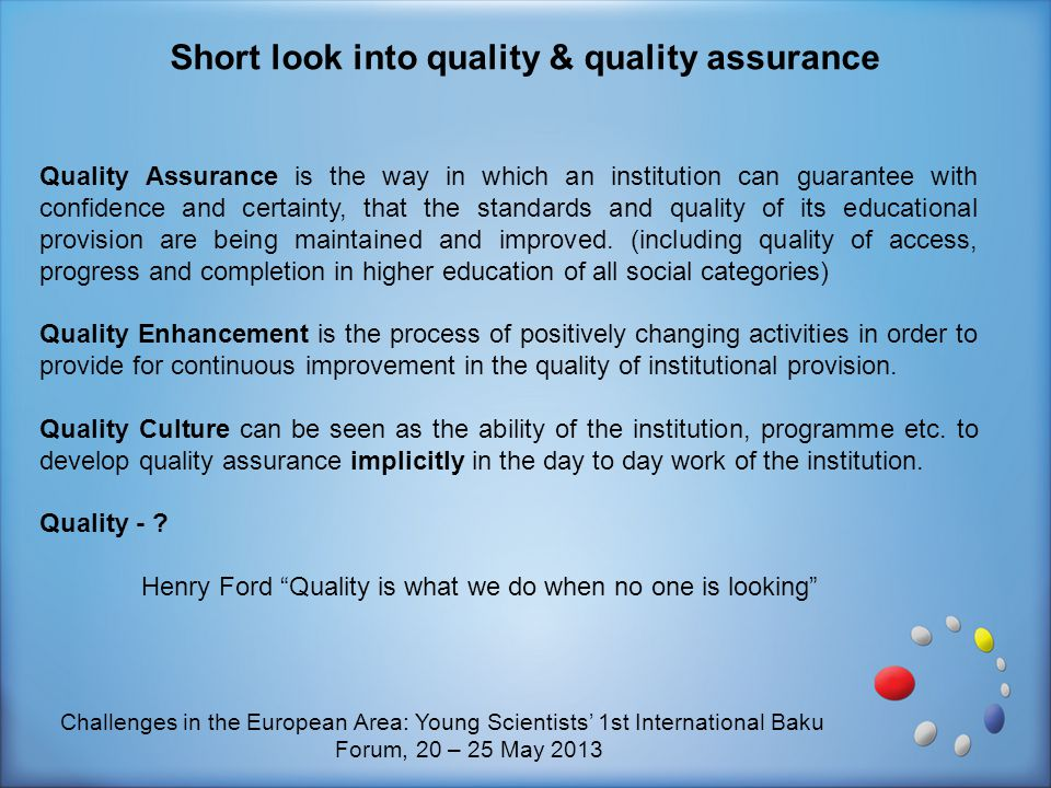 Short look into quality & quality assurance