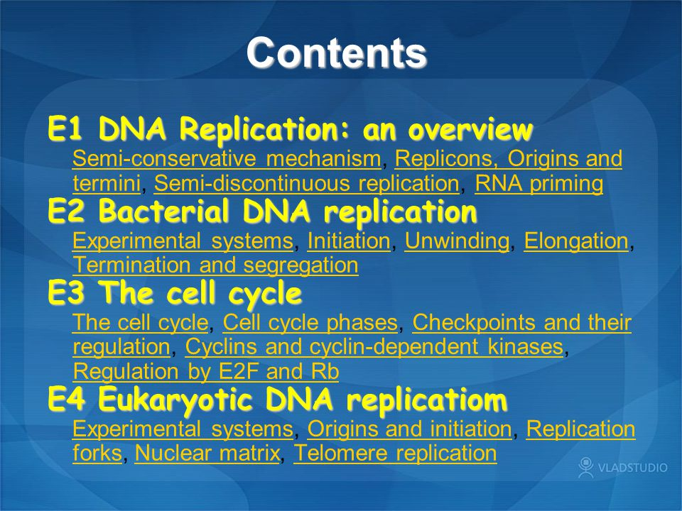 Contents E1 DNA Replication: an overview E2 Bacterial DNA replication