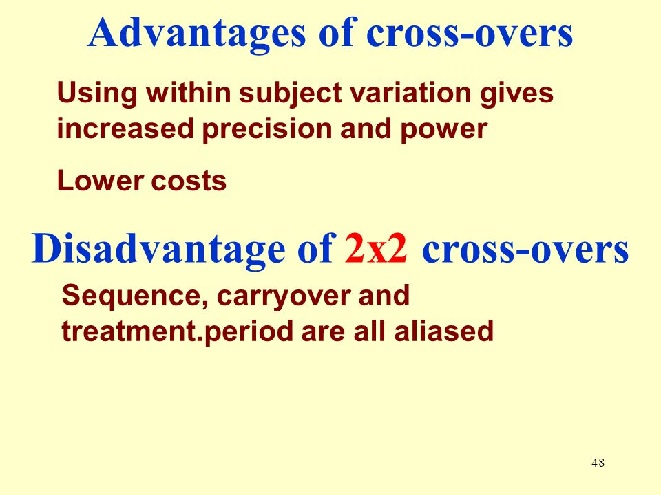 Advantages of cross-overs Disadvantage of 2x2 cross-overs