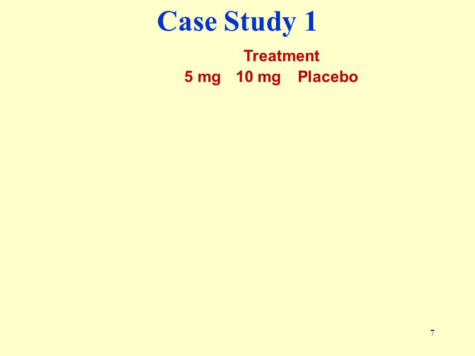 Case Study 1 Treatment 5 mg 10 mg Placebo Typical treatment order
