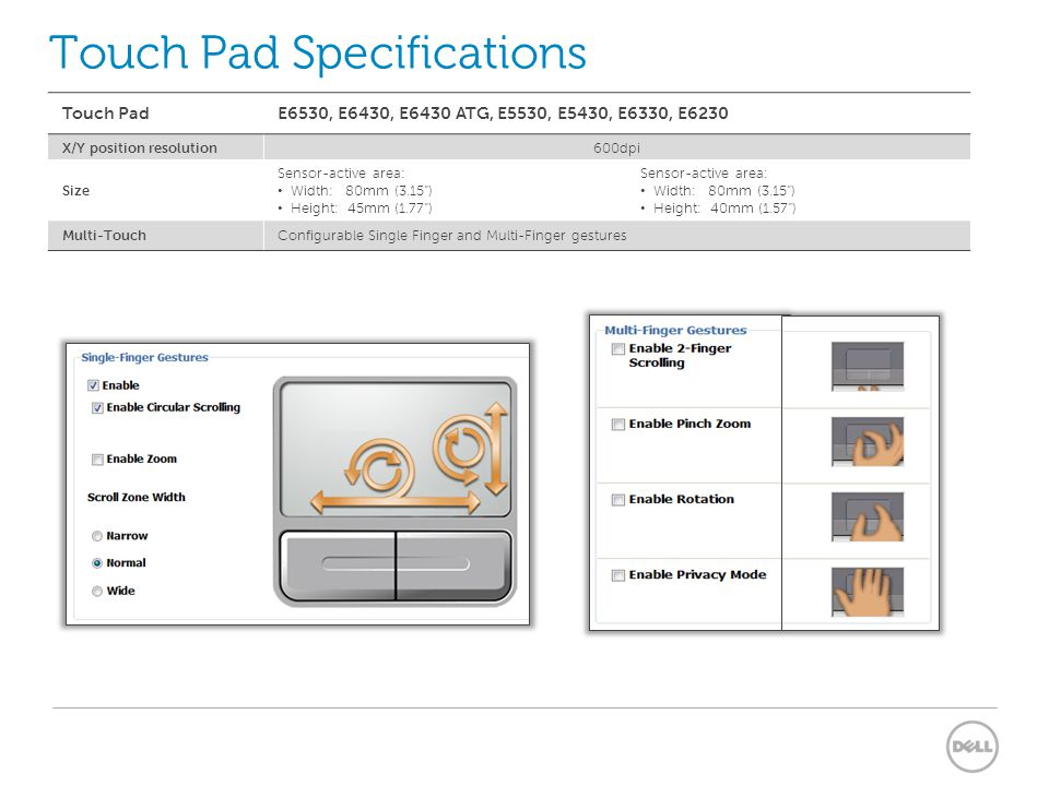 Touch Pad Specifications