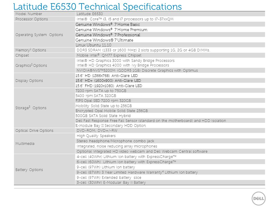 Latitude E6530 Technical Specifications