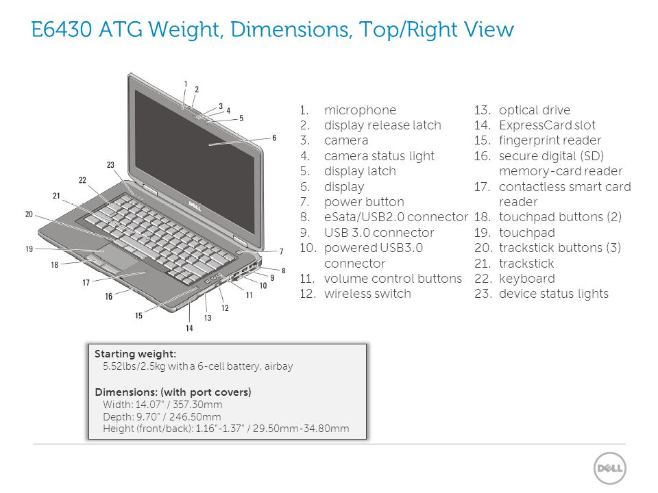 E6430 ATG Weight, Dimensions, Top/Right View