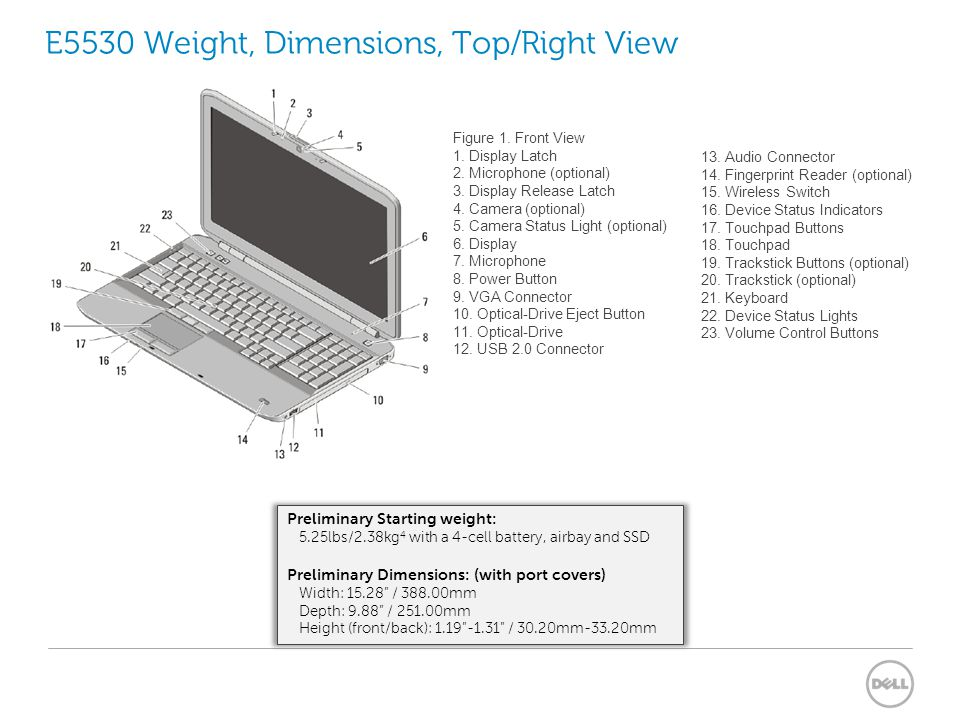 E5530 Weight, Dimensions, Top/Right View